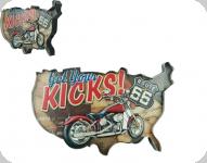 Enseigne vintage 3D à Led  Get You Kicks Moto
