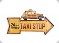 Enseigne vintage 3D à Led  Fleche Taxi Stop Deudeuch