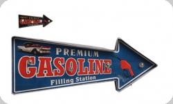 Enseigne vintage 3D à Led  Fleche Premium Gasoline