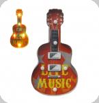 Enseigne vintage 3D à Led  Guitare Live Music