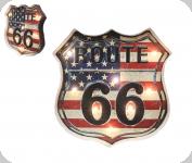 Enseigne vintage 3D à Led / Route 66 Drapeau Americain