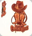 Decor mural vintage Western 3D  Panneau Cowboy Boots Chaps