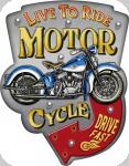 Enseigne vintage 3D à Led  Live To Ride Motor