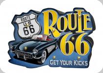 Enseigne vintage 3D à Led  Route 66 Get Your Kicks
