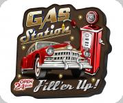 Enseigne vintage 3D à Led  Gas Station Fill'er Up