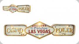 Enseigne vintage 3D à Led  Casino Poker