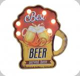 Enseigne vintage 3D à Led  Beer Choppe
