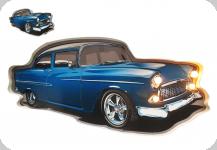Enseigne vintage 3D à Led  Voiture Bleu