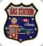 Enseigne vintage 3D à Led  Logo R66 Gas Station 24 Hours