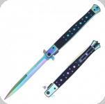 Couteau Pliant automatique Big Boy  Stiletto Noir et arc en ciel Lame de 14.5 cm