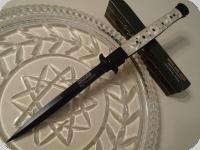 Couteau Pliant automatique Big Boy  Stiletto Blanc Nacré Lame de 14.5 cm