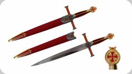 Dague Templière rouge de 54 cm   avec fourreau