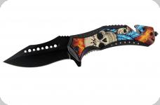 Couteau pliant 2 skulls  avec plume bleu
