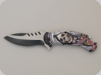 Couteau pliant Skull bouquet de rose   lame de 9 cm