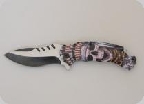 Couteau pliant Tête de mort indien   lame de 9 cm