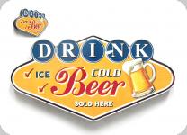 Enseigne vintage losange Drink Beer