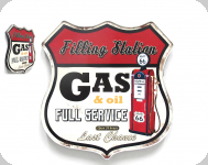 Enseigne vintage 3D  Ecusson R66 filling station