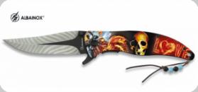 Couteau Pliant Tête de mort plume 3D   Lame de 9 cm