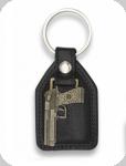 Porte clé Pistolet sur simili cuir