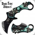 Couteau Pliant Karambit Skull  Dark Side Blades Vert  Lame de 7 cm
