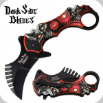 Couteau Pliant Karambit Skull  Dark Side Blades Rouge  Lame de 7 cm