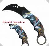 Couteau Pliant Karambit Skull gris et orange   Lame de 7 cm