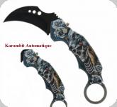 Couteau Pliant Karambit Skullet loup   Lame de 7 cm