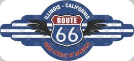 Enseigne plaque vintage 3D  Route66 illinois california