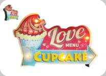 Enseigne vintage 3D à Led / Love Cupcake