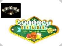 Enseigne vintage 3D à Led / Welcome restaurant