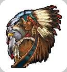 Enseigne plaque vintage 3D  Indien loup aigle