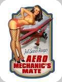 Enseigne plaque vintage 3D  Pin up aero mechanics mate