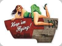 Enseigne plaque vintage 3D  pin up verte Keep em flying