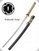 Wakisashi pratical forgé Lame trempé  couleur noir et beige