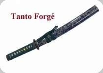 TANTO   Forgé Lame trempée  bleu marbré et vert
